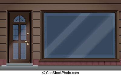 外面, ショーケース, ファサド, 店, 大きいガラス