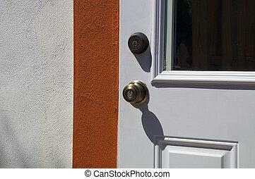 外面, ドア, ∥で∥, ノブ, そして, deadbolt, 中に, 日光
