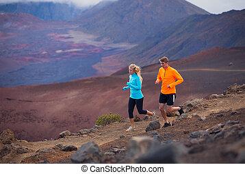 外面, 夫婦, 慢慢走, 痕跡運轉, 健身, 運動