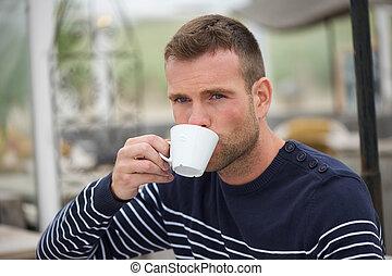 外, 人, コーヒー, 飲むこと, 若い