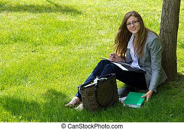 外, 勉強する, 学生, 成長した, キャンパス