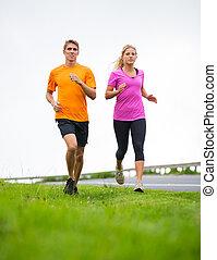 外, 恋人, ジョッギング, 動くこと, フィットネス, スポーツ