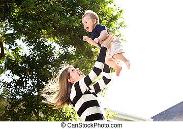 外, 母親遊び, 赤ん坊, 幸せ