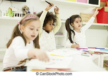 多人種である, 子供, 図画, 中に, ∥, 遊戯場