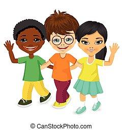 多人種である, 歩くこと, 子供, 一緒に, 幸せ