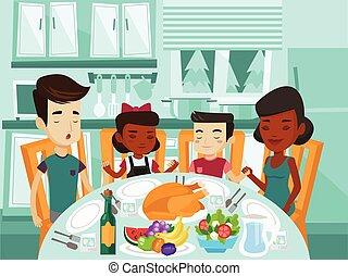 多人種である, 祈ること, テーブル。, 家族, お祝い