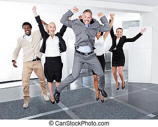 多人種である, businesspeople, 幸せ