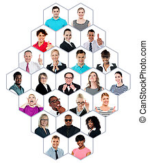 多人種のグループ, headshot, コレクション, 人々