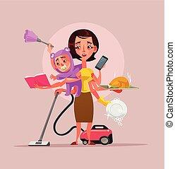 多任務, 超級, 母親, 字, 拿住嬰孩, 電話, 食物, 以及, 清洁房子, subjects., 矢量, 套間, 卡通, 插圖