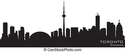 多倫多, 加拿大, 詳細, 黑色半面畫像, 矢量, skyline.