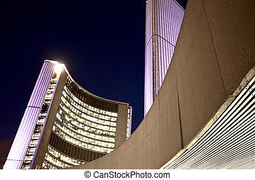 多倫多, 城市, 夜晚, 大廳, 相片