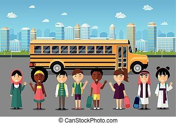 多国籍, 学校, 行く, 子供