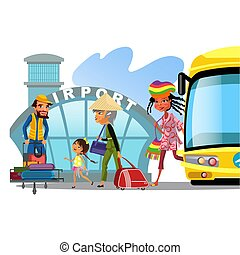 多国籍, kepp, 彼の, 子供, 交通機関, のように, 家族, 手荷物, イラスト, 公衆, 空港, ベクトル, 移動, 母, バス, 輸送, 幸せ