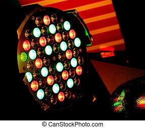 多彩色, 光, 以及, 聚光燈
