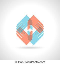 多彩, チームワーク, シンボル。, 手