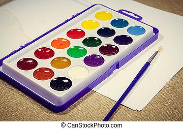 多彩, ペンキ, painting., ブラシ, 斜めに, 箱, 新しい