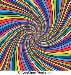 多彩, ライン, 中に, spiral., カラフルである, ライン, 背景, イラスト