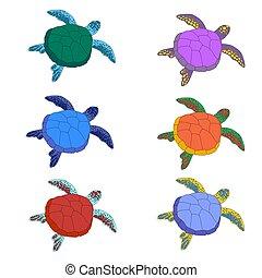 多彩, 漫画, セット, かわいい, 最新流行である, カメ, 白, animals., childrens, six., turtle., 海, colors., バックグラウンド。, 隔離された, motives