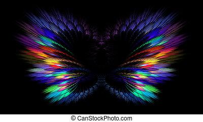 多彩, 蝶, 翼, 横, feathers., 背景, ネオン, フラクタル, banner., butterflies., 抽象的