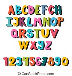 多彩, letters., 明るい, 英語, alphabet., 図画, スタイル, 子供, 手, カラフルである, style., 漫画, かわいい, 学校, 引かれる, セット, font., 壷