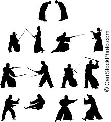多数, シルエット, 戦闘, 侍