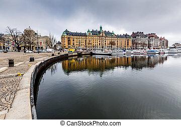 多数, ストックホルム, ヨット, strandvagen, スウェーデン, 贅沢, 堤防