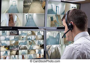 多数, フィート数, 見る, カメラオペレーター, コンピュータ