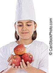 多数, 女の子, 愛らしい, りんご