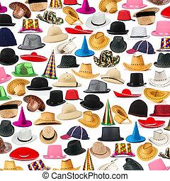 多数, 帽子, 取り決められた, 背景