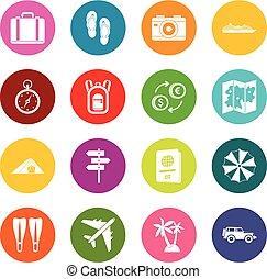 多数, 旅行, セット, 色, アイコン
