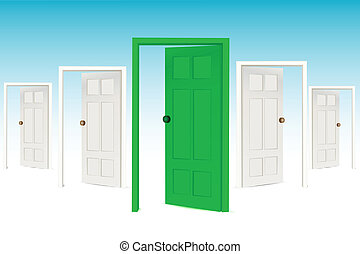 多数, 開いた, ドア
