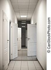 多数, 開いた, 廊下, ドア