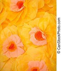 多数, 黄色の花, ハンドメイド, から, ペーパー