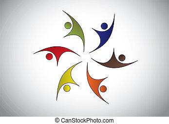多样化, 开心, 年轻人, 跳舞