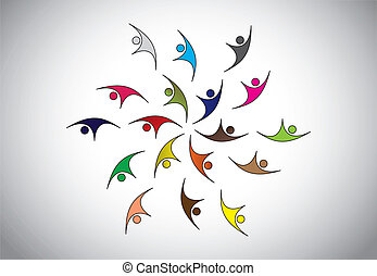 多样化, 开心, 年轻人, 跳跃