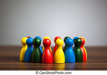 多様性, グループ, 合併した, 円, 友人, 概念