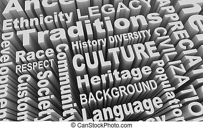多様性, コラージュ, 民族, イラスト, 文化, レース, グループ, 相続財産, 単語, 3d