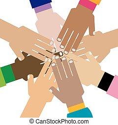 多様性, 一緒に, 手