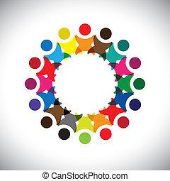 多様性, 概念, graphic-, 抽象的, 共同体, &, 統一, 共用体, 従業員, icons(signs)., 幸せ, カラフルである, 労働者, イラスト, 表す, 子供, のように, 共有, ベクトル, 概念, 友情, 遊び