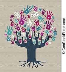 多様性, 色, 木の 冬, 手