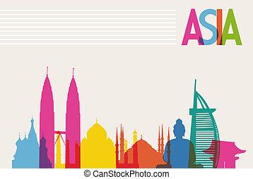 多様性, 記念碑, の, アジア, 有名なランドマーク, 色, transparency., ベクトル, ファイル,...
