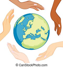 多様, エコロジー, 地球, 手