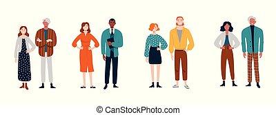 多様, グループ, 若い, pairs., 人々