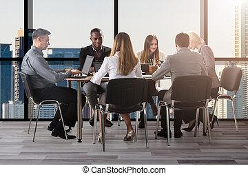 多様, グループ, businesspeople, オフィス, モデル