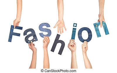 多様, ファッション, 単語, 手を持つ