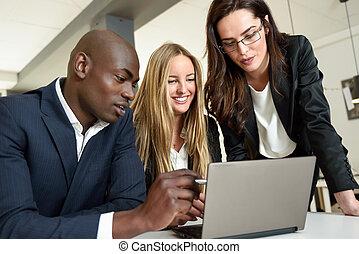 多民族グループ, の, 3, businesspeople, ミーティング, 中に, a, 現代, オフィス。