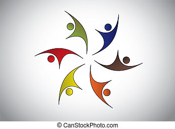 多种多樣, 愉快, 年輕人, 跳躍, &, 跳舞, 由于, 快樂, &, happiness., 人, 婦女, 孩子,...