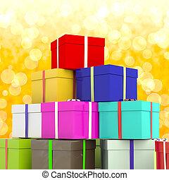 多种顏色, giftboxes, 由于, 黃色, bokeh, 背景, 如, 提出, 為, 家庭