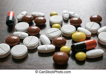 多种顏色, tablets., 醫學, 產品, 維持, 好的健康, 以及, well-being.