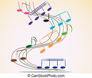 多色である, illustration., メモ, バックグラウンド。, ベクトル, 音楽のスタッフ
